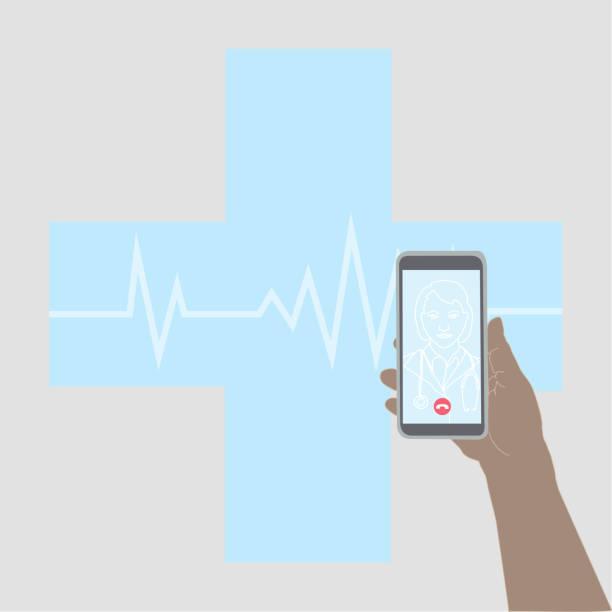 illustrazioni stock, clip art, cartoni animati e icone di tendenza di parlare con il medico con una videochiamata - woman chat video mobile phone