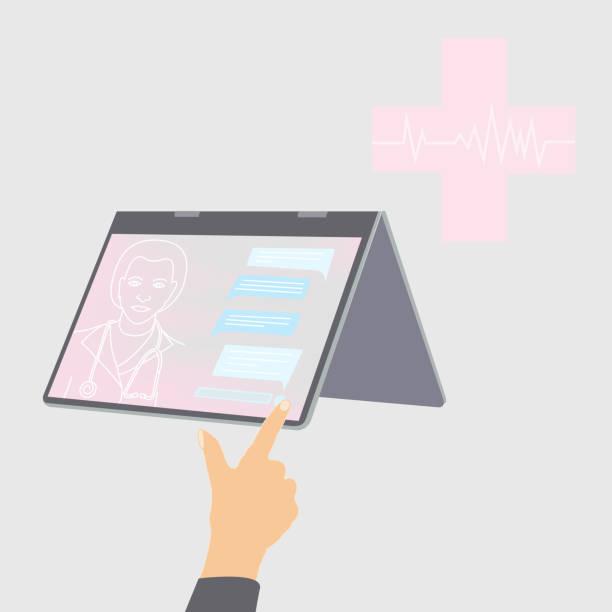 illustrazioni stock, clip art, cartoni animati e icone di tendenza di parlare con il medico via chat - woman chat video mobile phone