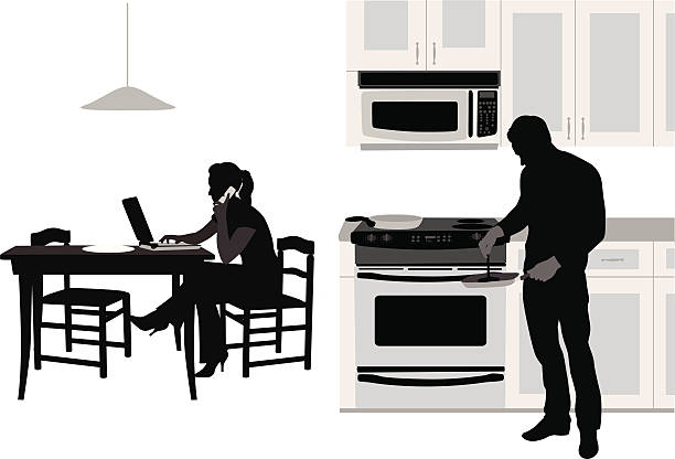 Talk'n Cook Vector Silhouette A-Digit cooking silhouettes stock illustrations
