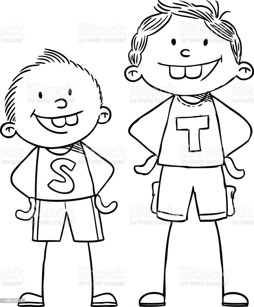 Tall and Short Kids vector art illustration