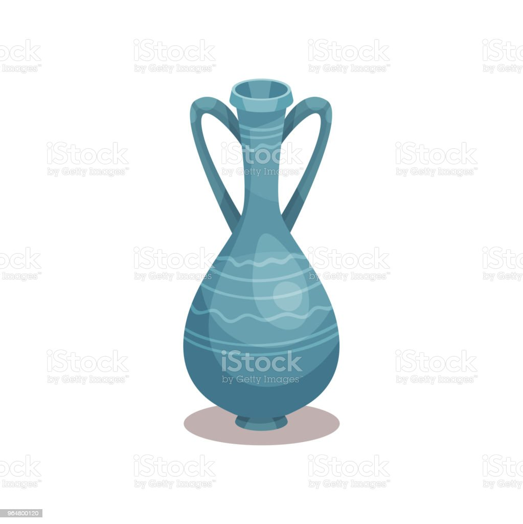 Tall blue amphora with ornament. Old ceramic jug with two handles and narrow neck. Flat vector icon of pottery pitcher for wine royalty-free tall blue amphora with ornament old ceramic jug with two handles and narrow neck flat vector icon of pottery pitcher for wine stock vector art & more images of cartoon