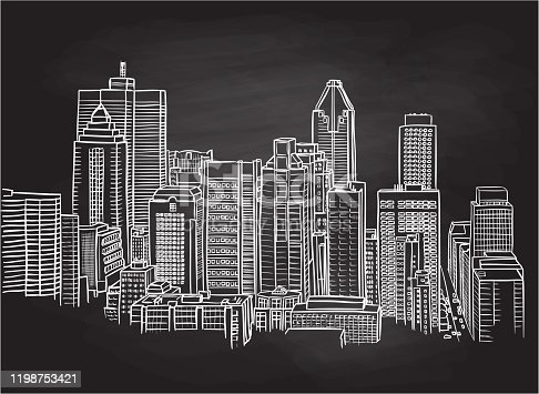 istock Tall Buildings Urban Landscape Chalkboard 1198753421