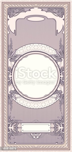 Tall card 10x21 cm in art-deco style