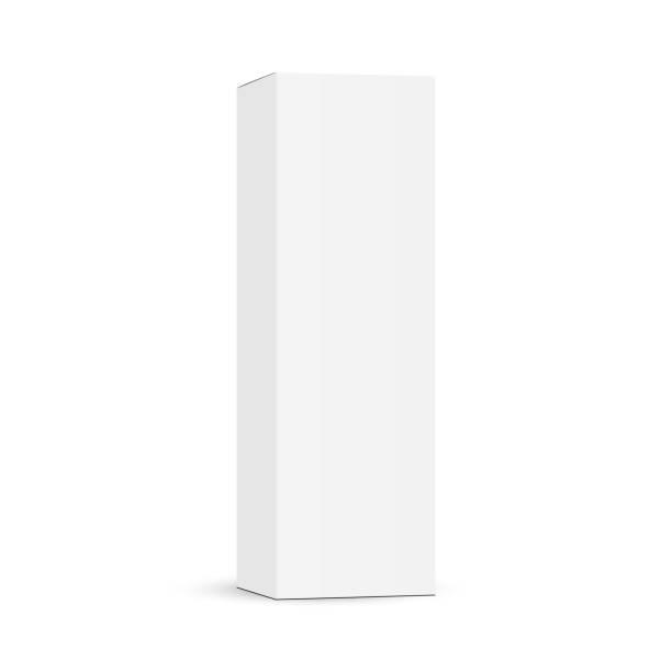 ilustrações de stock, clip art, desenhos animados e ícones de tall cardboard packaging box mockup isolated on white background - alto descrição física