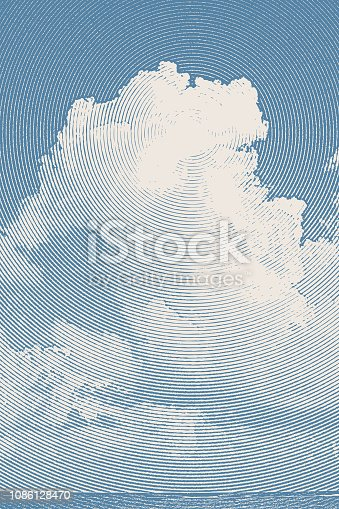 Engraving illustration of Tall Cumulous Cloudscape Over Water