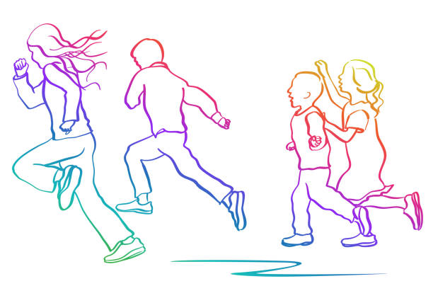Tall Kids Racing Ahead Rainbow vector art illustration