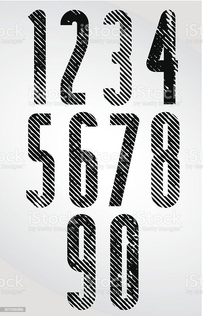 Große Poster Überschrift Zahlen Mit Halbtonlinienstruktur Vektor ...