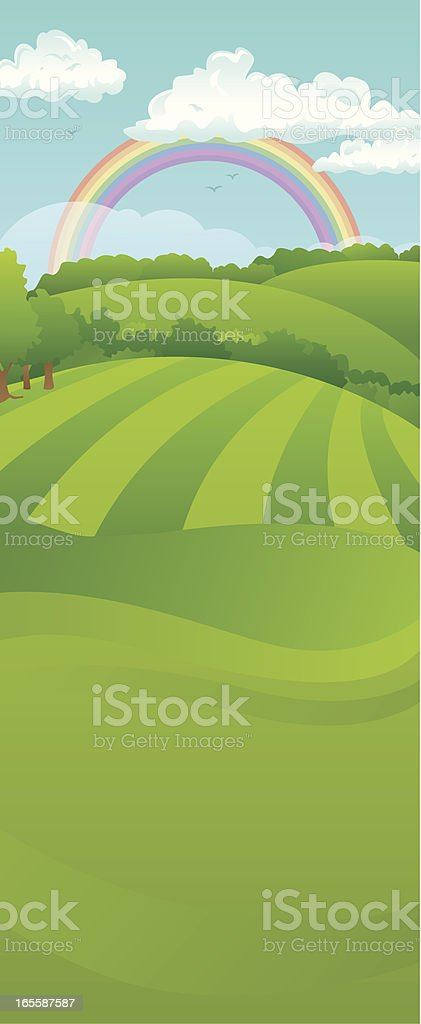 Tall Rainbow Landscape vector art illustration