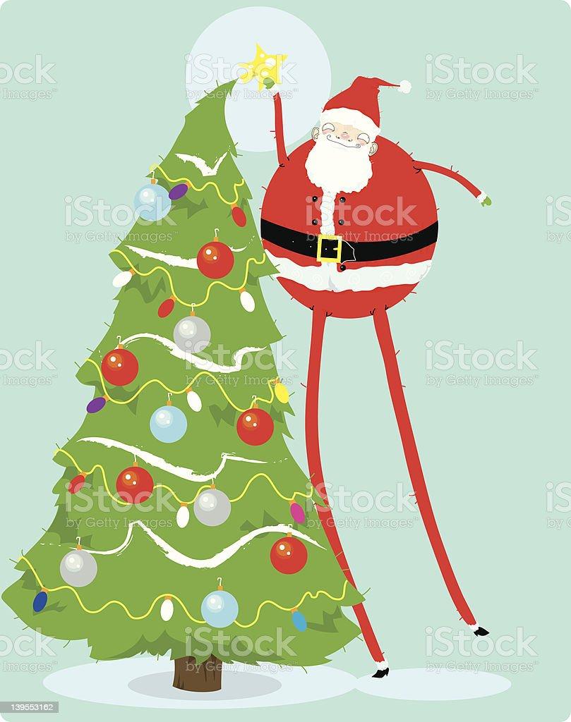 Tall Santa & Star royalty-free stock vector art