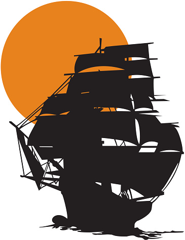 Tall Ship Silhouetted Against Sunset