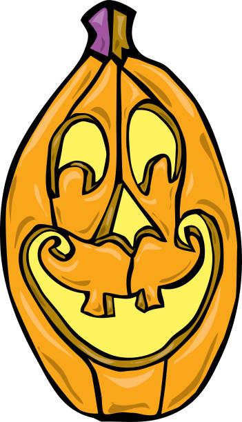 Tall smiling jack o' lantern pumpkin vector art illustration