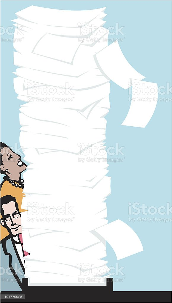 Tall stack of papers in the inbox royalty-free stock vector art