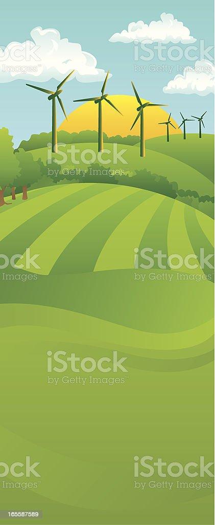 Tall Turbine Landscape royalty-free stock vector art