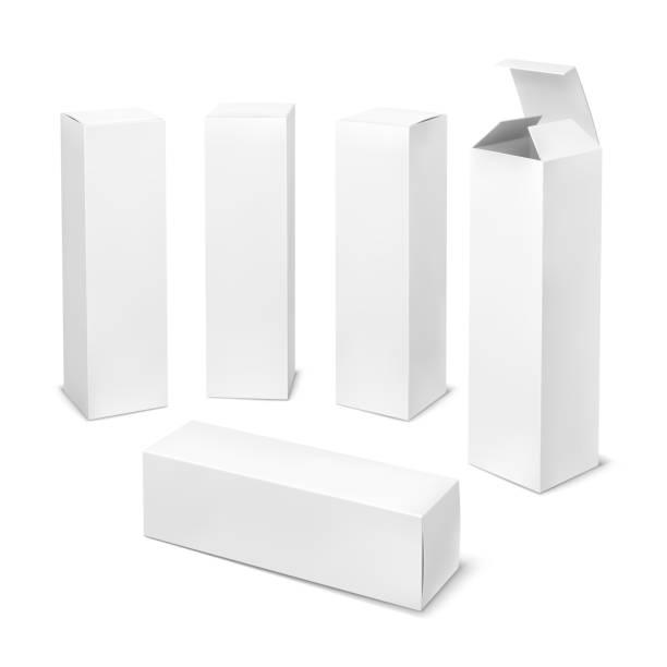 背の高い白いボックス。影医学製品垂直フォームで化粧品の段ボール箱長方形の空パッケージ - box点のイラスト素材/クリップアート素材/マンガ素材/アイコン素材