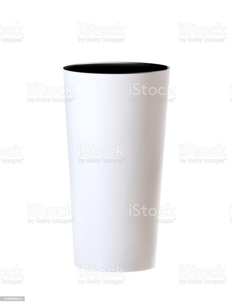 Tall White Empty Flower Pot On White Background Stock Vector Art