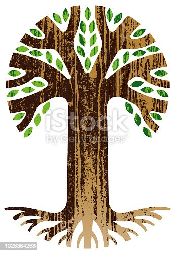 A tall graphic tree with roots, with a woodgrain look.