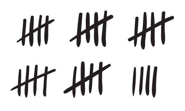 Tally marks count or prison wall sticks lines counter. Vector hash marks icons of jail or desert island lost day tally numbers counting in slash lines Tally marks count or prison wall sticks lines counter. Vector hash marks icons of jail or desert island lost day tally numbers counting in slash lines counting stock illustrations