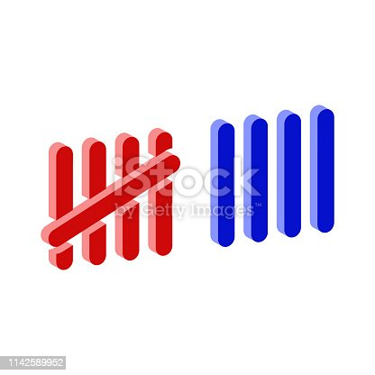 Tally marks isometric icon.Vector illustration.