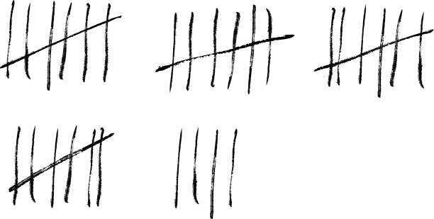 Tally marks on a prison wall. Vector illustration. Tally marks on a prison wall. Vector illustration. counting stock illustrations