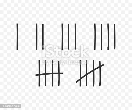 Tally marks on the wall isolated. Counting characters. Vector illustration