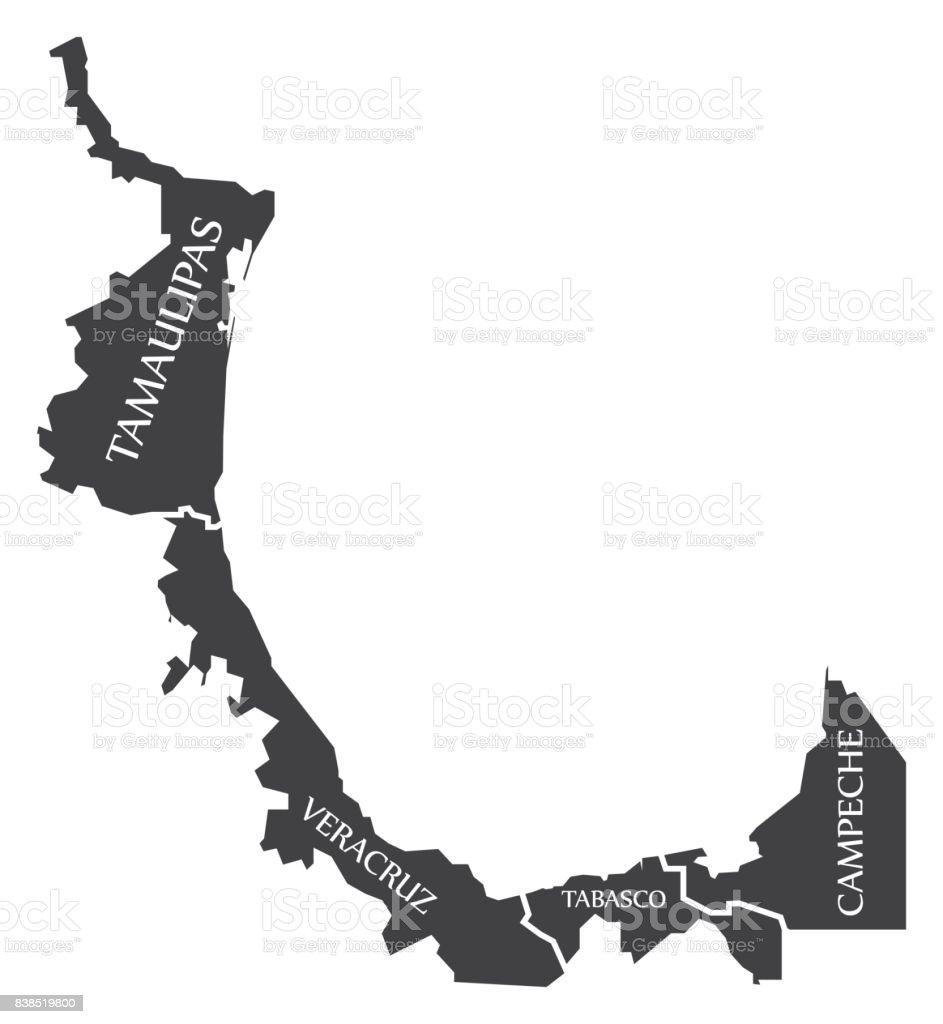 tamaulipas veracruz tabasco campeche map mexico illustration stock