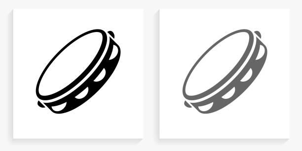 stockillustraties, clipart, cartoons en iconen met tamboerijn zwart en wit vierkant pictogram - tamboerijn