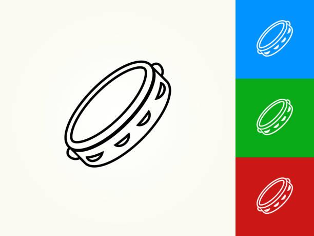 ilustrações, clipart, desenhos animados e ícones de pandeiro preto traçado linear ícone - pandeiro