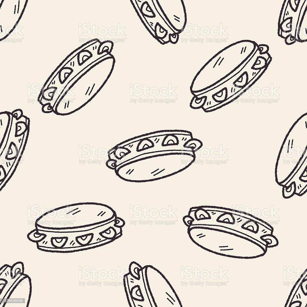 tambourine doodle seamless pattern background vector art illustration