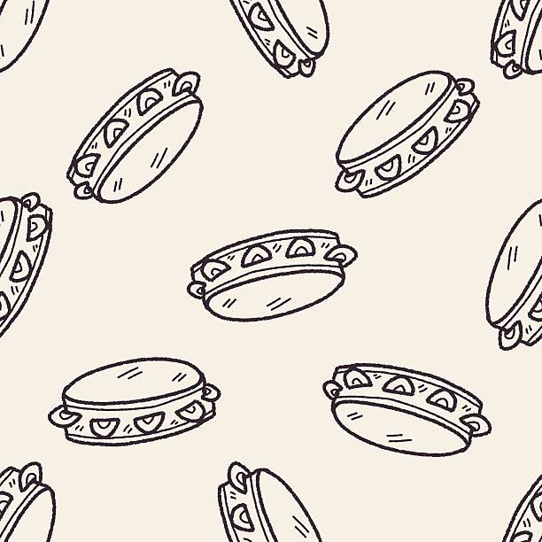 stockillustraties, clipart, cartoons en iconen met tambourine doodle seamless pattern background - tamboerijn