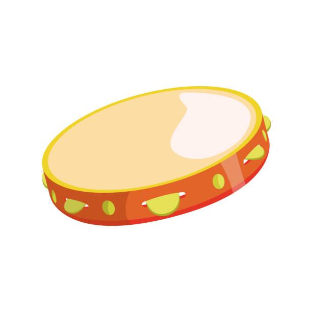 stockillustraties, clipart, cartoons en iconen met tamboerijn platte pictogram - tamboerijn