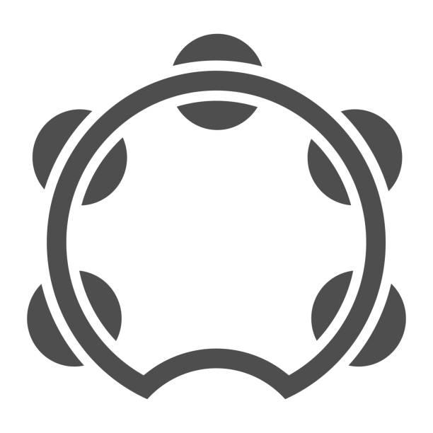 stockillustraties, clipart, cartoons en iconen met tamboerijn glyph pictogram, muzikale en instrument, trommel teken, vector graphics, een effen patroon op een witte achtergrond. - tamboerijn