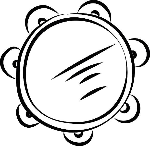 stockillustraties, clipart, cartoons en iconen met tambourine hand drawn vector icon - tamboerijn