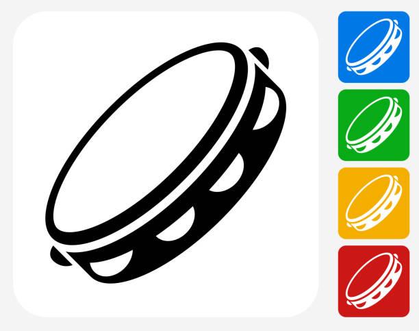 stockillustraties, clipart, cartoons en iconen met tambourine icon flat graphic design - tamboerijn