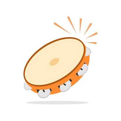 Tambourine icon, musical instrument, beat the drum. Flat design, vector.
