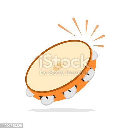 istock Tambourine icon, musical instrument, beat the drum. Flat design, vector. 1200719328