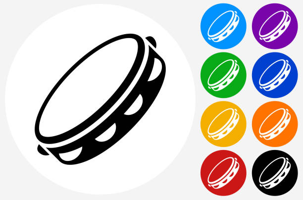 ilustrações, clipart, desenhos animados e ícones de tambourine icon on flat color circle buttons - pandeiro