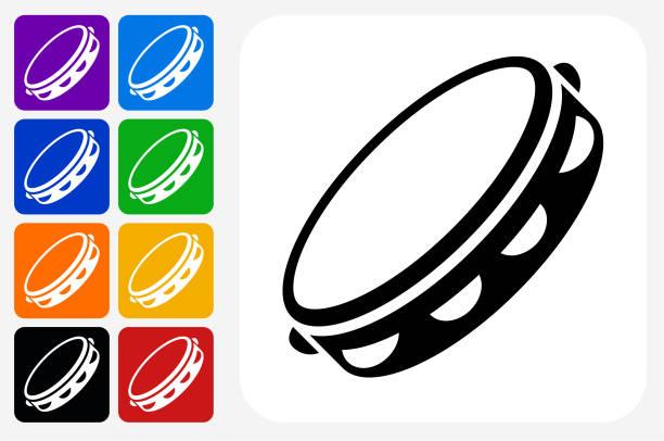 stockillustraties, clipart, cartoons en iconen met tamboerijn pictogram vierkante knop set - tamboerijn