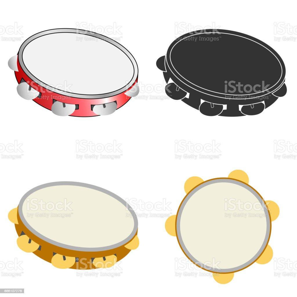 Tambourine icon vector art illustration
