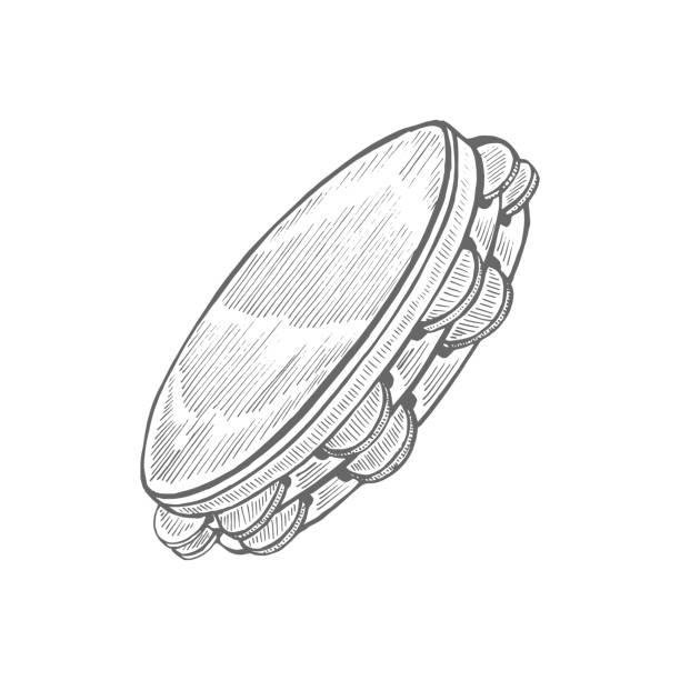 stockillustraties, clipart, cartoons en iconen met tamboerijn in handgetekende stijl - tamboerijn
