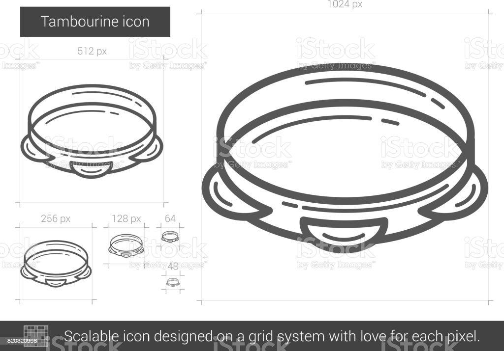 Tambourine line icon vector art illustration