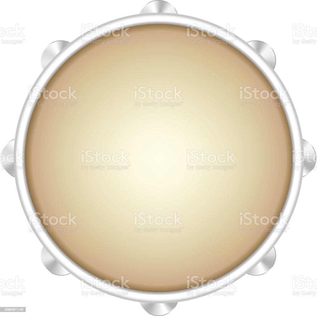 Tambourine musical instrument vector art illustration