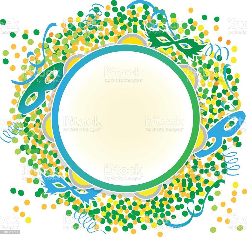 Tambourine on confetti background vector art illustration