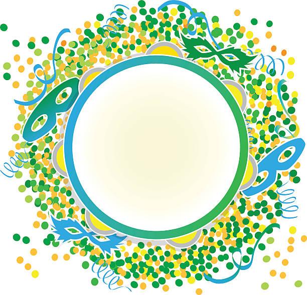 stockillustraties, clipart, cartoons en iconen met tambourine on confetti background - tamboerijn