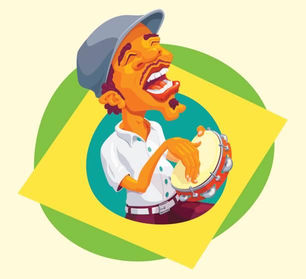 tambourine player popping up of brazilian flag - bębenek baskijski stock illustrations