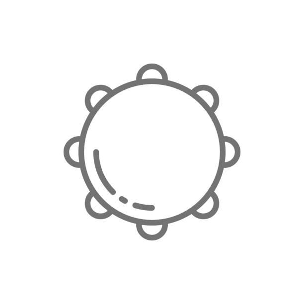 stockillustraties, clipart, cartoons en iconen met tamboerijn, timbre, percussie, muziekinstrument lijn icoon. - tamboerijn