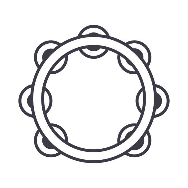 stockillustraties, clipart, cartoons en iconen met tamboerijn vector lijn pictogram, teken, afbeelding op de achtergrond, bewerkbare lijnen - tamboerijn