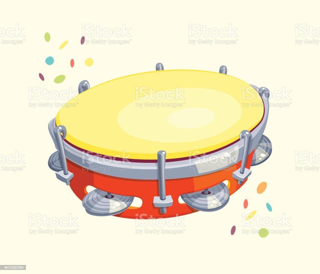 Tambourine with Confetti vector art illustration