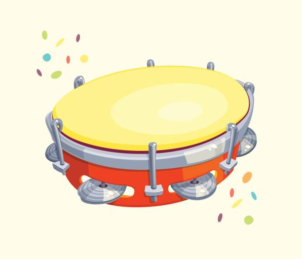 stockillustraties, clipart, cartoons en iconen met tamboerijn met confetti - tamboerijn