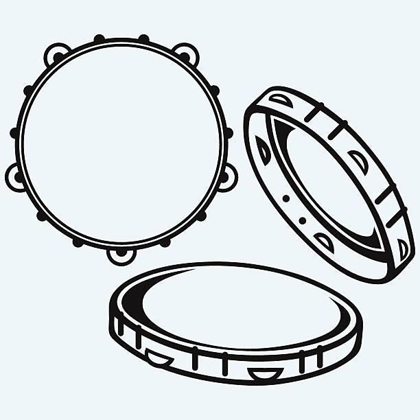 stockillustraties, clipart, cartoons en iconen met tambourine with nobody holding - tamboerijn