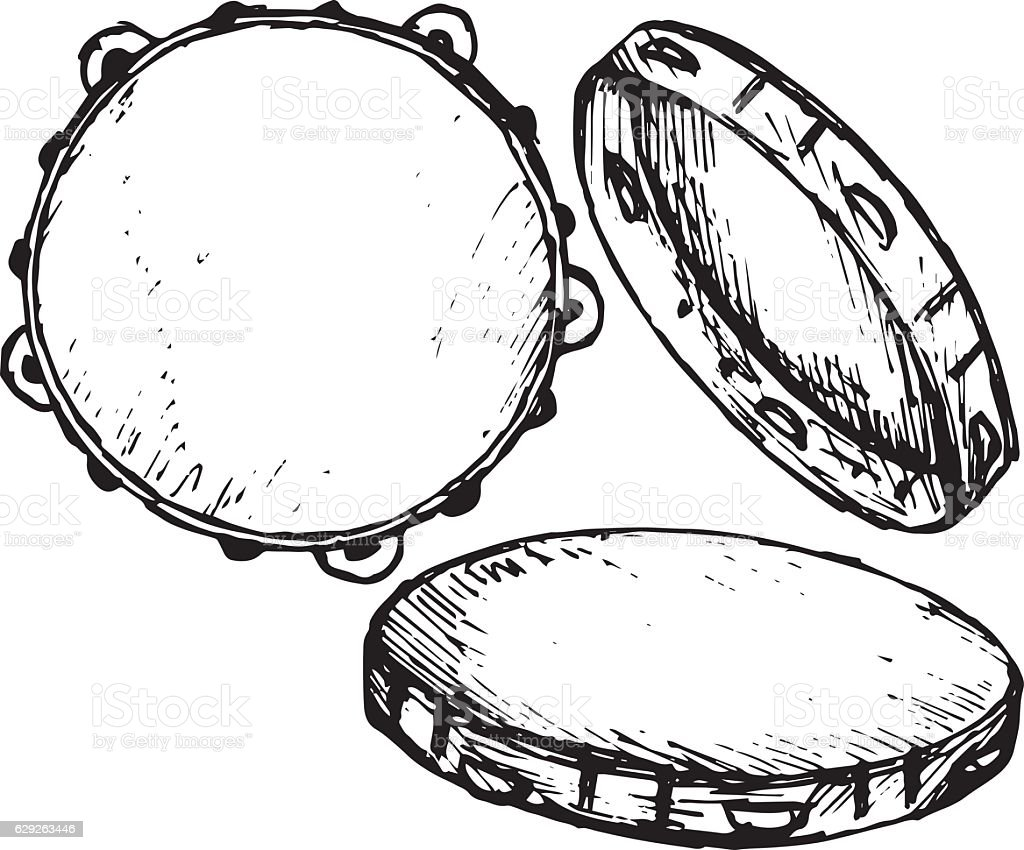 Tambourine with nobody holding vector art illustration